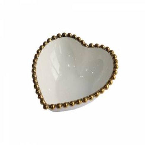 Bowl Cerâmica Coração Dots Branco c/ Dourado 13x5cm