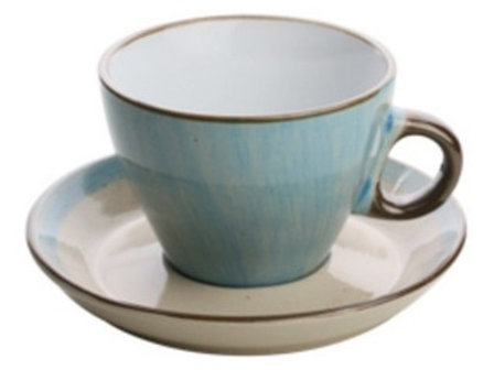 Xícara Para Chá com Pires 200 ml Azul Watercolor