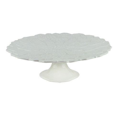 Prato p/ Bolo em Porcelana Daisy Branco 30cm - Wolff