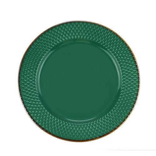 Prato Sobremesa de Porcelana Drops Verde 20cm - Wolff