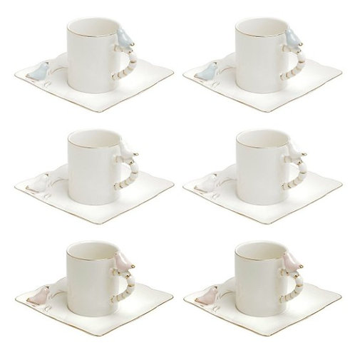 Conj. 6 Xícaras de Café c/ Pires de Porcelana Birds Colorido 80ml Wolff