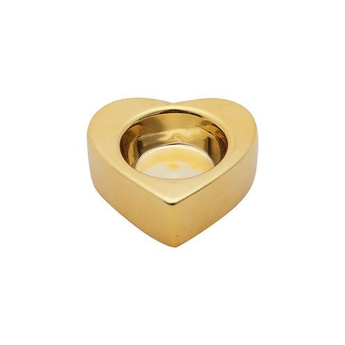 Castiçal em Cerâmica Coração Dourado 8,5x7,5x3cm