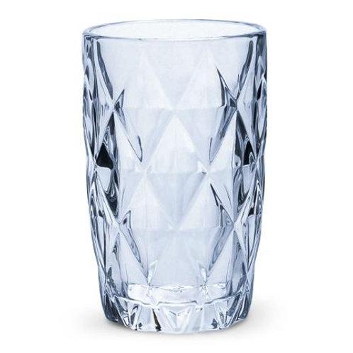 Copo Água de Vidro Diamond Azul Metalizado 350ml - Lyor