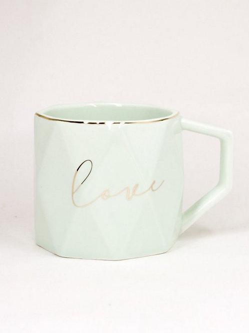 Caneca Love Porcelana Verde 300ml