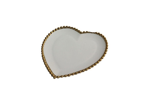 Prato Sobremesa Cerâmica Coração Dots 17x16cm Branco c/ Dourado