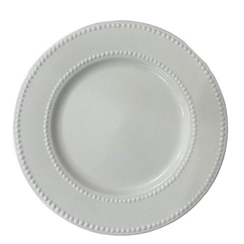 Prato Sobremesa de Porcelana New Bone Pearl Branco 19cm - Lyor