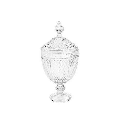 Potiche de Cristal c/ Pé Perseu Transparente Tamanhos - Lyor