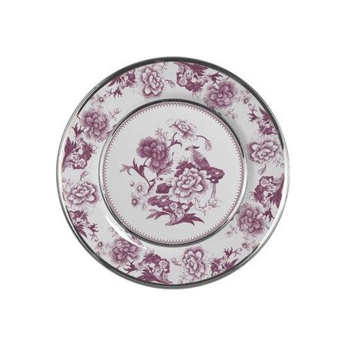 Prato Sobremesa em Cerâmica Chinese Rose c/ Filete Dourado 20cm - Alleanza