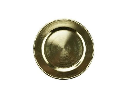 Sousplat de Chá Plástico Dourado 25cm