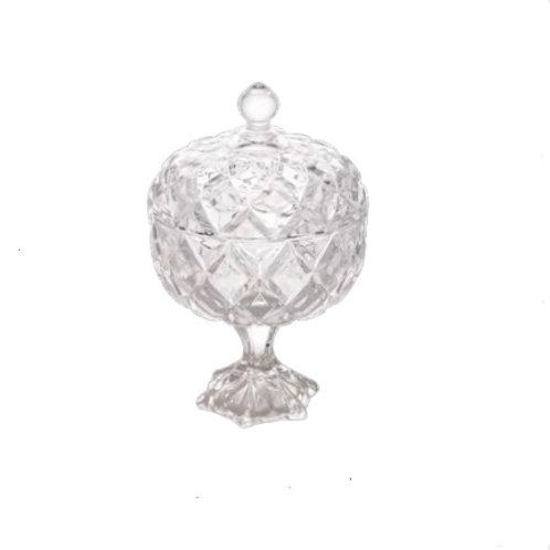 Potiche Decorativo c/pé de Cristal Deli 18x28cm - Lyor