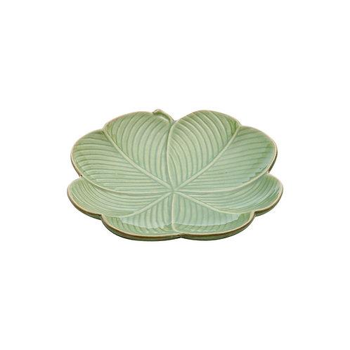 Prato Decorativo de Cerâmica Banana Leaf 20x20x3cm - Lyor