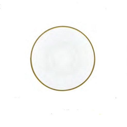 Sousplat de Cristal c/ Borda Dourada Linen 33cm