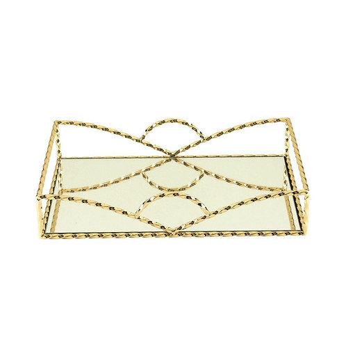 Bandeja Decorativa Ferro c/ Espelho Dourado 31x20x6cm