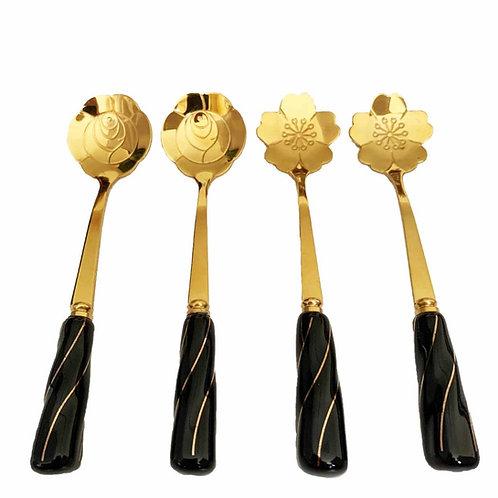 Conj. 4 Colheres Aço Inox p/ Chá Cabo Cerâmica Flowers Dourado - BonGourmet