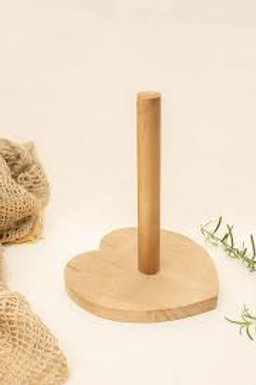 Porta Papel Toalha em Madeira Pinus Coração 24cm