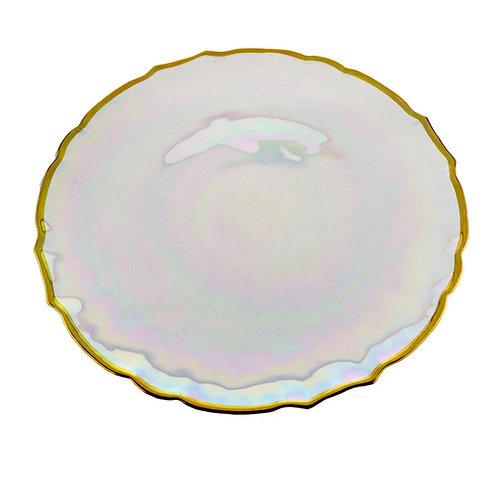 Sousplat de Cristal c/ Borda Dourada Rainbow 33cm