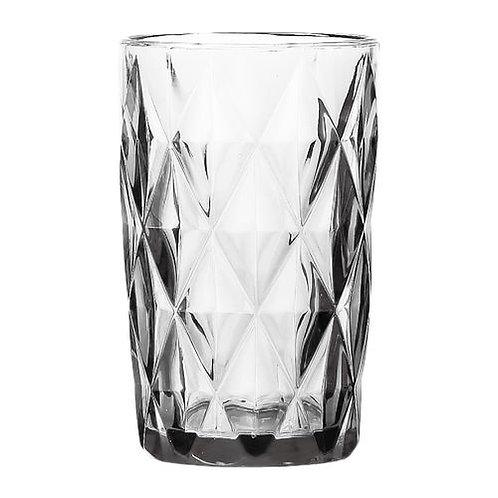 Copo Água de Vidro Diamond Transparente 350ml - Lyor