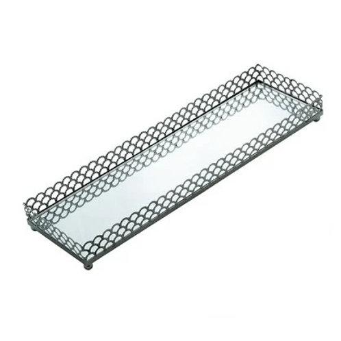 Bandeja em Metal Retangular Prata 28x8x3,5cm