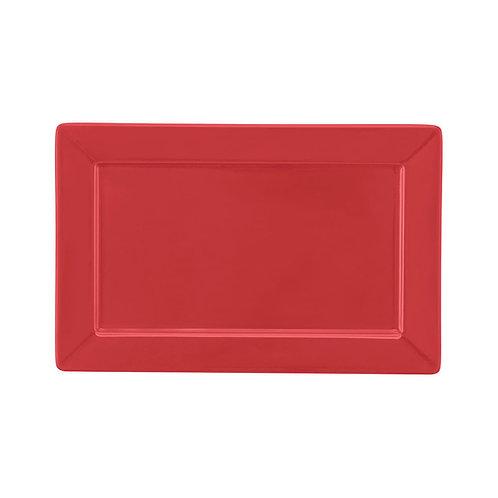 Prato Sobremesa / Travessa Plateau Porcelana Vermelho 24x16cm Oxford