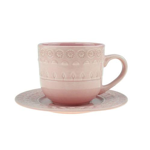 Xícara de Chá c/ Pires em Porcelana Grace Rose 250ml - Wolff