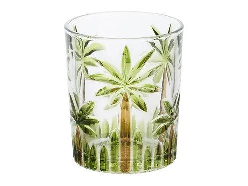 Copo Baixo de Cristal Palm Tree Handpaint 340ml -Wolff