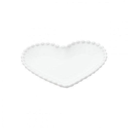 Prato Sobremesa Cerâmica Coração Dots 21x21cm Branco