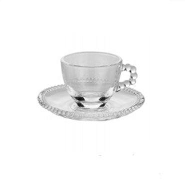 Xícara de Café em Cristal Transparente c/ Pires Bolinhas Pearl 80ml - Wolff