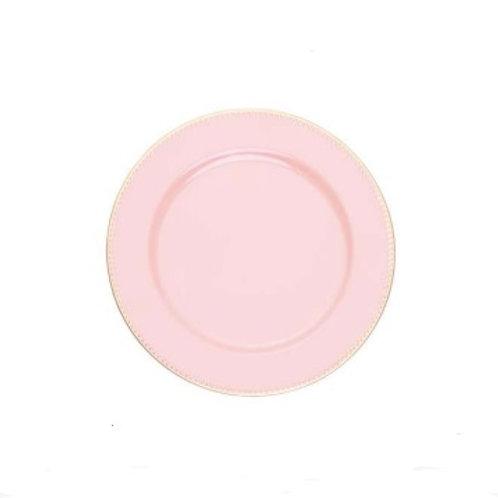 Sousplat de Plástico p/ Chá Rosa 25cm
