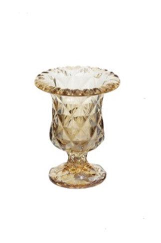Vaso de Vidro Sodo-Calcico Âmbar Metalizado Diamond 14,5cm - Lyor