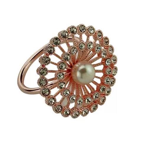 Anel P/Guardanapo Zinco Botão Rose Gold 5x5cm