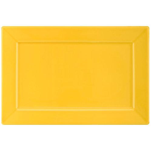 Prato Raso / Travessa Plateau Porcelana Amarelo 30x20cm Oxford