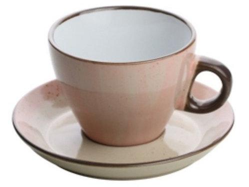 Xícara Para Chá com Pires 200 ml Rosa Watercolor