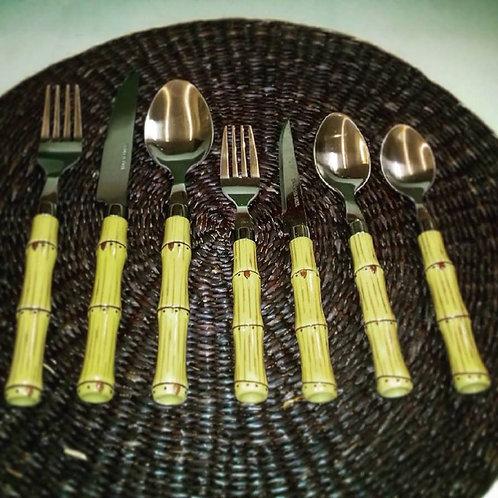 Conj. 6 Talheres de Aço Inox c/ Cabo Plástico Bambu - Lyor