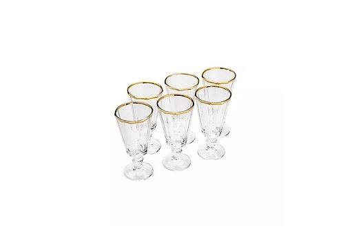 CJ. 6 Taças de Cristal de Chumbo p/ Licor c/ Filete de Ouro Tulip 50ml - Wolff