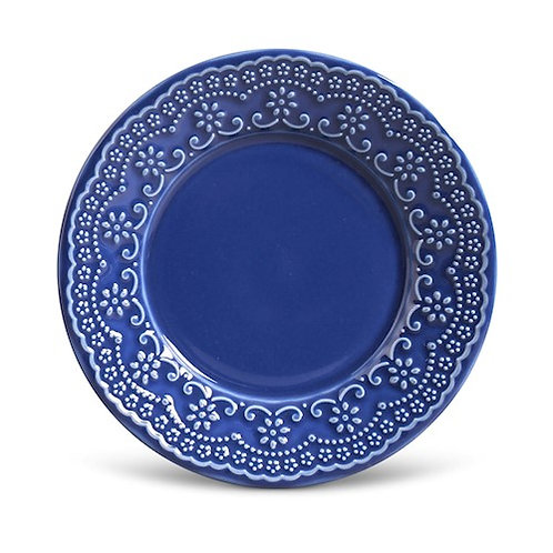 Prato Sobremesa Madeleine Azul Navy 20,5cm - Porto Brasil