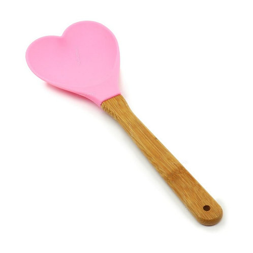 Colher de Silicone c/ Cabo de Bambu Coração Charmy Rosa 27cm