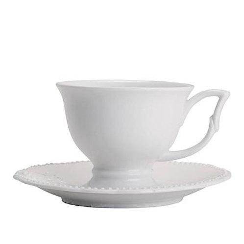 Xícara de Chá c/ Pires de Porcelana Super Queen 200ml - Lyor