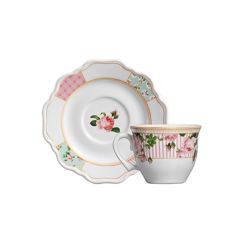 Xícara de Chá c/ Pires Belle Romance 200ml - Cerâmica Scalla
