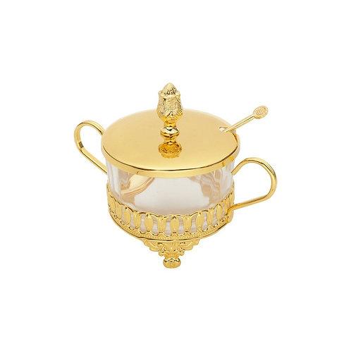 Açucareiro De Zamac Com Colher Silver Plated Flor De Lis Dourado-Lyor
