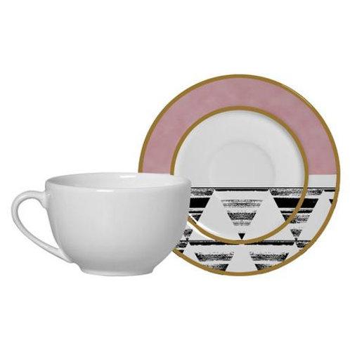 Xícara de Chá c/ Pires em Cerâmica Geométrica 300ml - Alleanza
