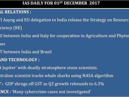 01 December 2017 : Current Affairs UPSC : IAS DAILY