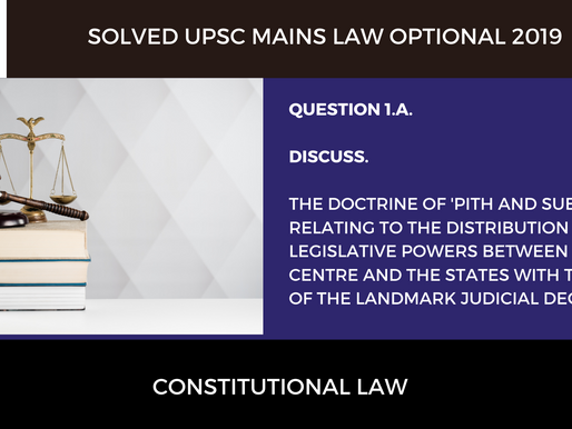 Solved 2019 UPSC Mains Law Optional | Paper 1 | Question 1