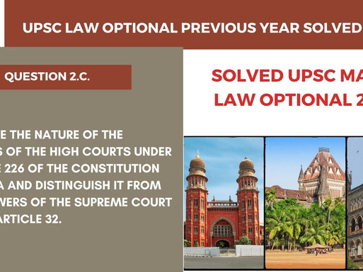 UPSC Law Optional Previous year solved series | 2019 UPSC law Optional | Question 2.c.