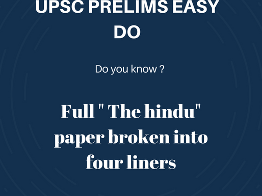 UPSC PRELIMS DAILY CURRENT AFFAIRS | Dated : 9/04/2018 | MONDAY | The Hindu broken to 4 liners
