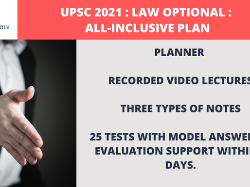 UPSC Law Optional 2021 : All-Inclusive Plan