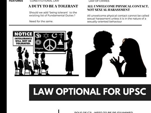 Latest UPSC Law Optional Mains Current Affairs 2018