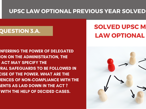 UPSC Law Optional Previous year solved series | 2019 UPSC law Optional | Question 3.a.