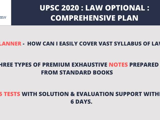 UPSC Law Optional 2020 : Comprehensive Plan