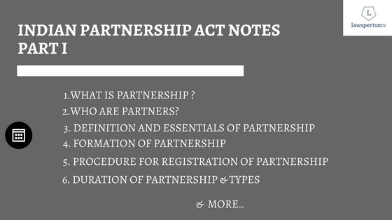 Indian Partnership Act Notes