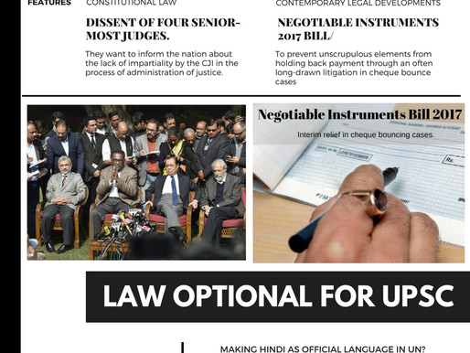 UPSC LAW OPTIONAL MAINS MONTHLY CURRENT AFFAIRS | JAN 2018
